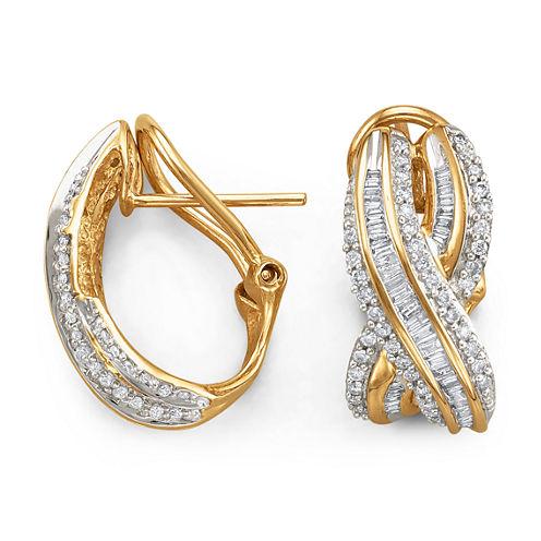 "3/4 CT. T.W. Diamond ""X"" 10K Yellow Gold Earrings"