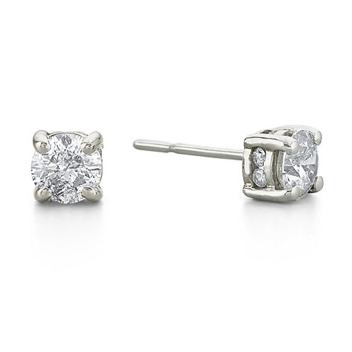 1 CT. T.W. Diamond Swirl Studs 14K White Gold