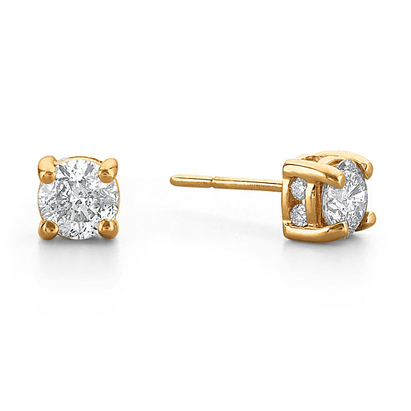 1 ct t w diamond swirl 14k yellow gold stud earrings jcpenney