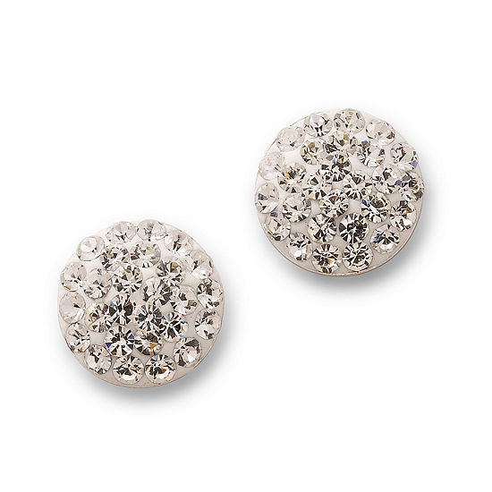 Silver Treasures Sterling Silver Crystal Stud Earrings
