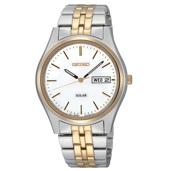 Seiko® Mens Two-Tone Round-Dial Solar Watch SNE032