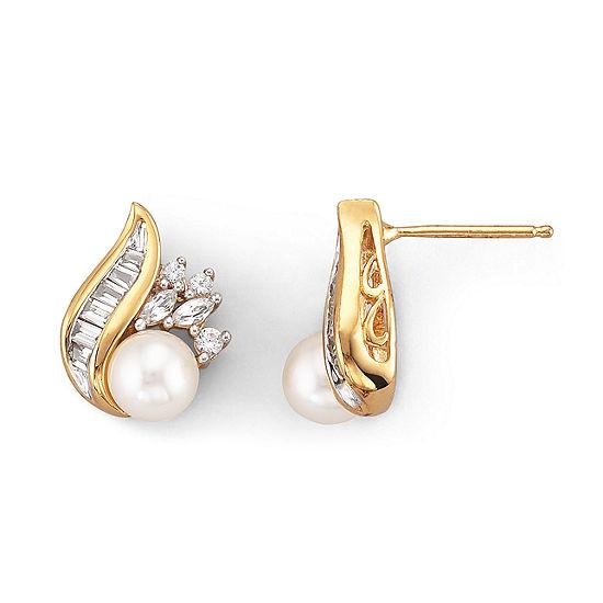 Cultured Freshwater Pearl Earrings 14K Over Sterling
