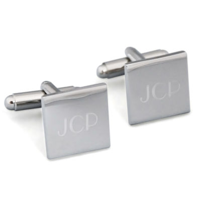 Engravable Silver Square Cufflinks