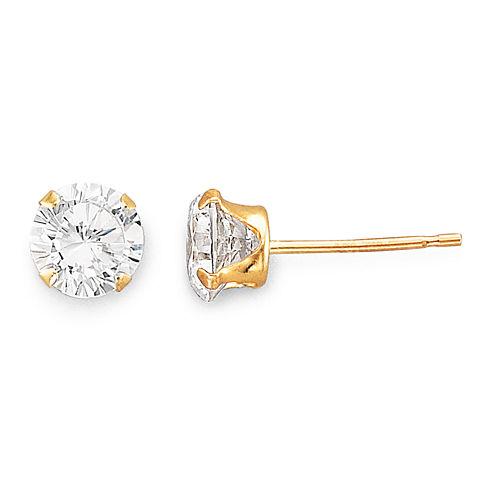 5mm 14K Gold Cubic Zirconia Round Stud Earring
