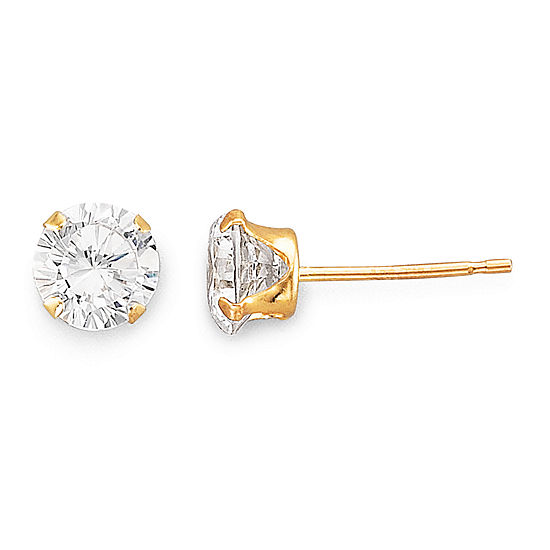 5mm 14K Gold Cubic Zirconia Round Stud Earring
