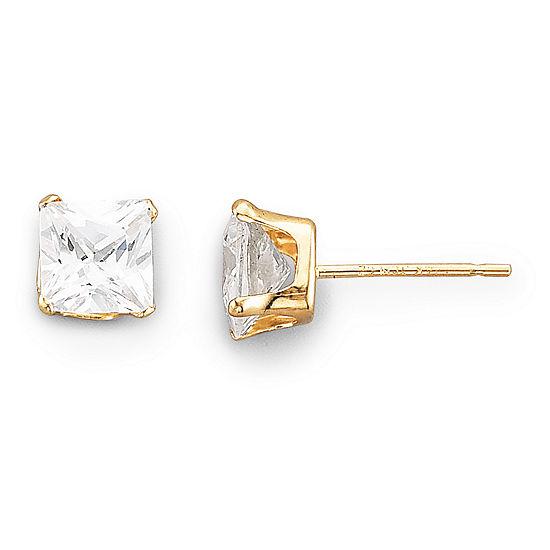 5mm Stud Earrings, 14K Cubic Zirconia Princess Cut