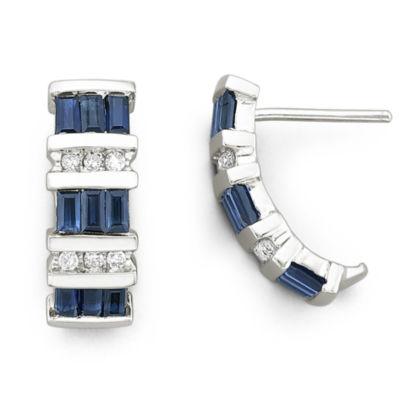 10K Gold Genuine Sapphire & Diamond-Accent Earrings
