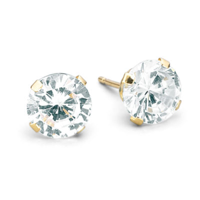 6mm 14K Yellow Gold Round Cubic Zirconia Stud Earrings