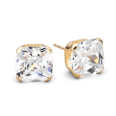 7mm 14K Princess Cut Cubic Zirconia Stud Earrings