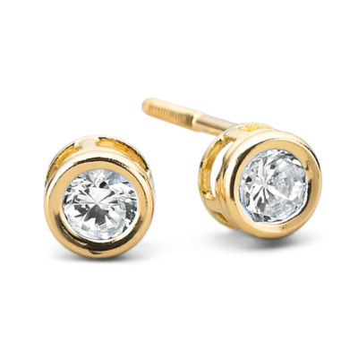 Girls 14K Gold Cubic Zirconia Bezel Set Earrings
