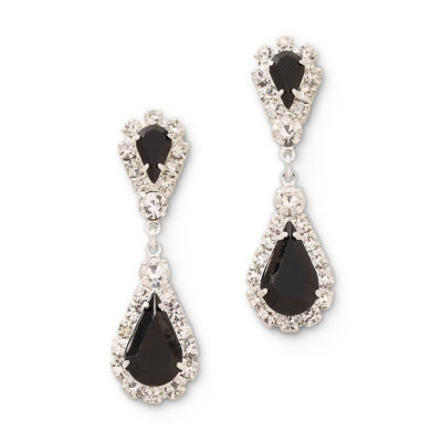 Vieste® Black and Clear Rhinestone Teardrop Earrings
