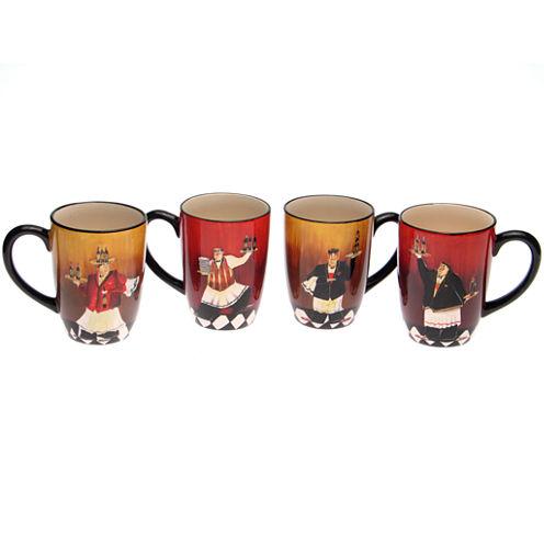Certified International Bistro Chef Set of 4 Coffee Mugs