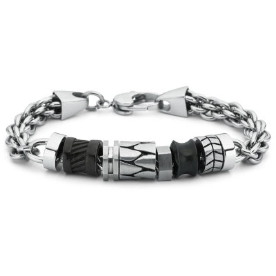 Men's Faux Leather Bead Bracelet Stainless Steel