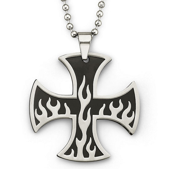 Mens Flame Iron Cross Pendant Necklace Stainless Steel