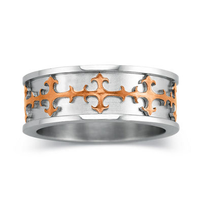 Mens Stainless Steel Cross Ring Band