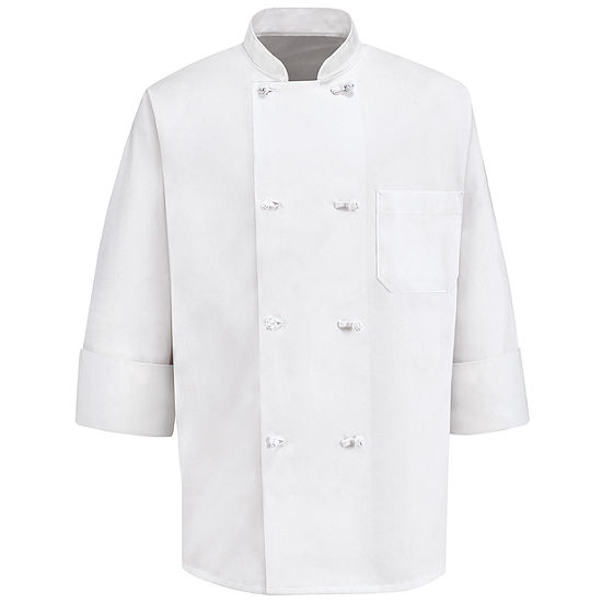 Chef Designs® 0411 Men's 8-Knot Long Sleeve Button Chef Coat–Big & Tall