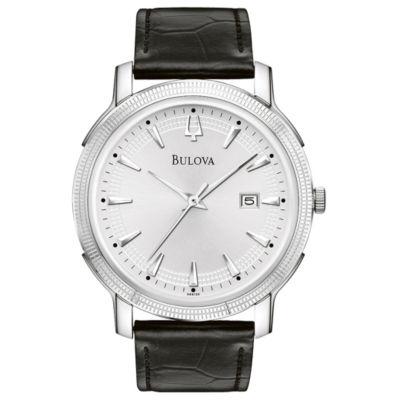 Bulova® Mens Black Leather Strap Watch