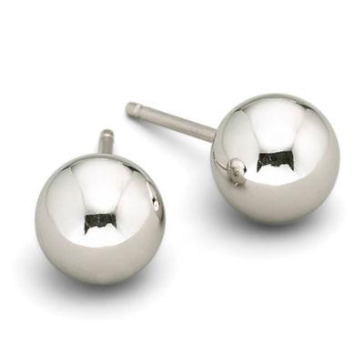 14K White Gold 6mm Ball Stud Earrings