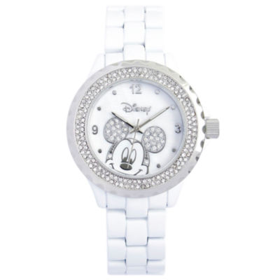 Disney White Enamel Crystal Accent Mickey Watch