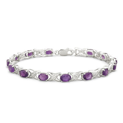 "Genuine Amethyst with Diamond-Accents Sterling Silver """"XO"""" Link Bracelet"