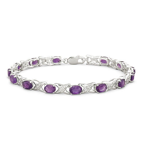 """Genuine Amethyst with Diamond-Accents Sterling Silver """"""""XO"""""""" Link Bracelet"""