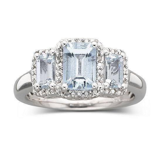 Sterling Silver Genuine Aquamarine & Diamond Accent Ring