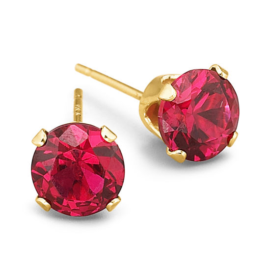 Diamond Accent Red Ruby 10K Gold Stud Earrings