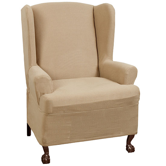 Maytex Smart Cover® Reeves Grid Stretch 1 Piece Wing Chair Furniture Cover Slipcover