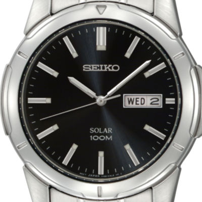 Seiko® Mens Black Dial Stainless Steel Solar Watch SNE093