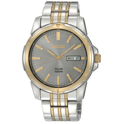 Seiko® Mens Two-Tone Solar Watch SNE098