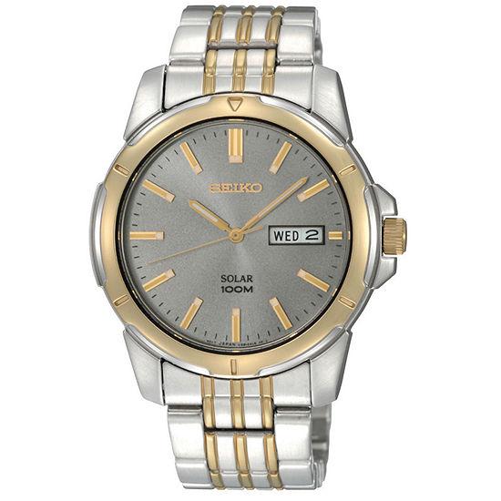 Seiko Mens Two Tone Solar Watch Sne098