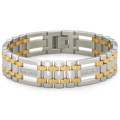Mens Two-Tone Stainless Steel Cubic Zirconia Bracelet