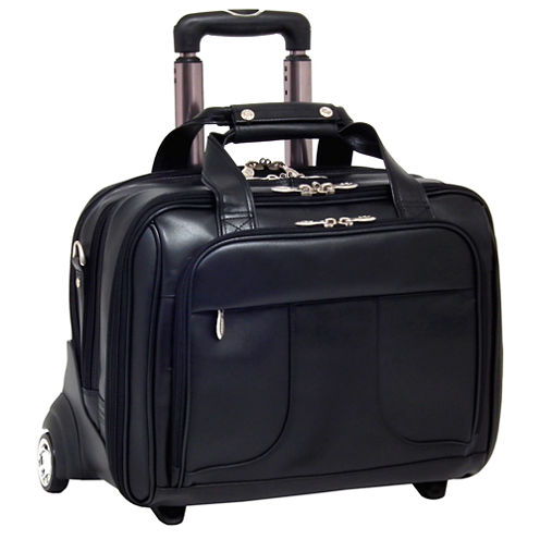 """McKleinUSA Chicago 15.6"""" Leather Detachable -Wheeled Laptop Overnight with Removable Briefcase"""