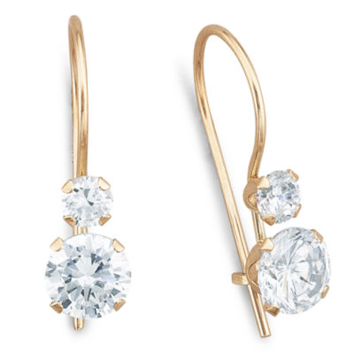 10K Yellow Gold Round Cubic Zirconia Earrings