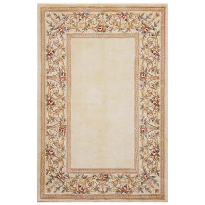 Floral Border Wool Rectangular Rug