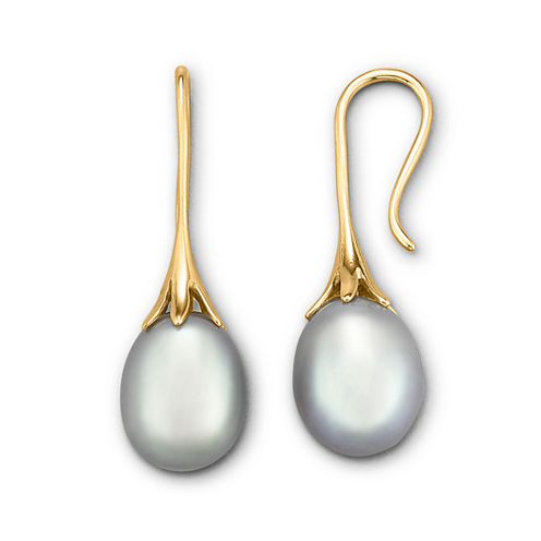 Gray Cultured Freshwater Pearl Drop Earrings