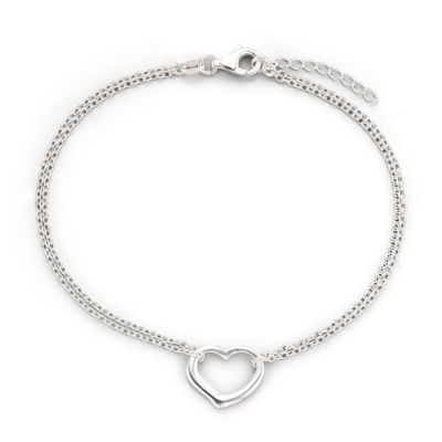 """Made in Italy Stering Silver 10"""" Heart Station Ankle Bracelet"""