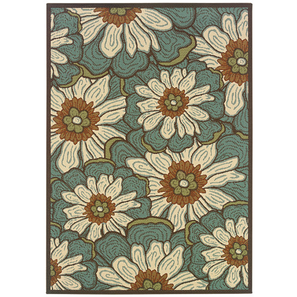 Covington Home Martinique Blossoms Indoor/OutdoorRectangular Rug