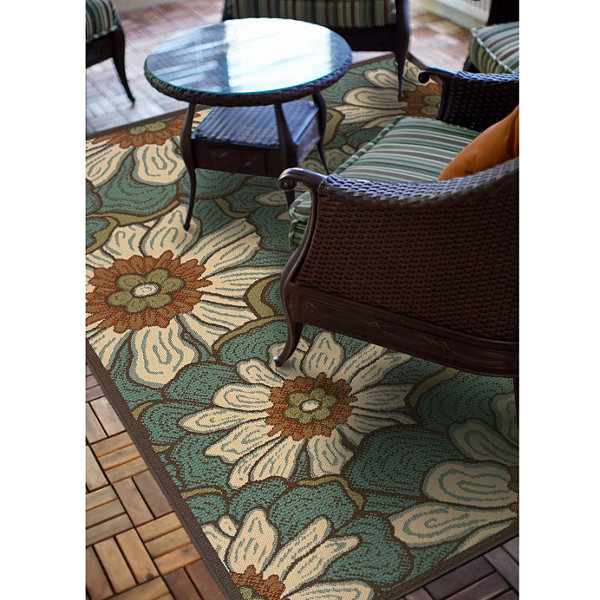 Covington Home Martinique Blossoms Indoor/OutdoorRunner Rug