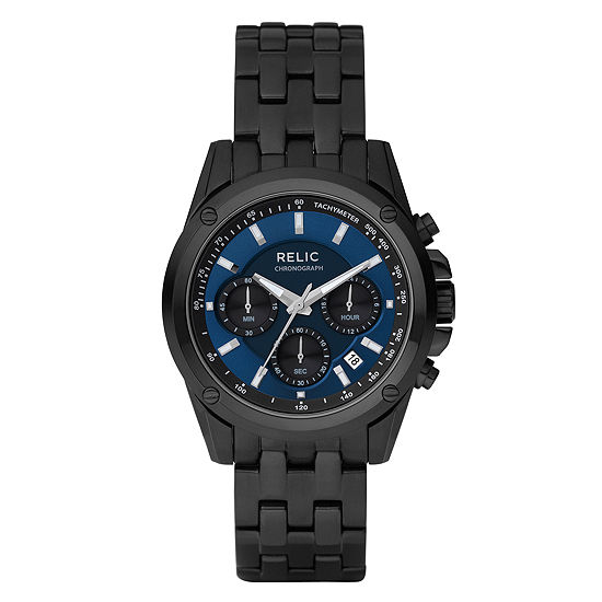 Relic By Fossil Mens Chronograph Multi-Function Black Stainless Steel Bracelet Watch-Zr66035