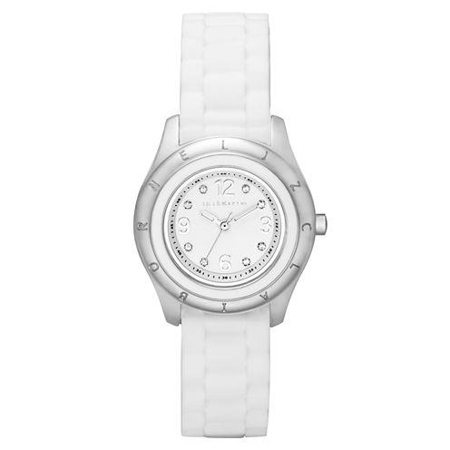 Liz Claiborne® Womens White Silicone Strap Watch