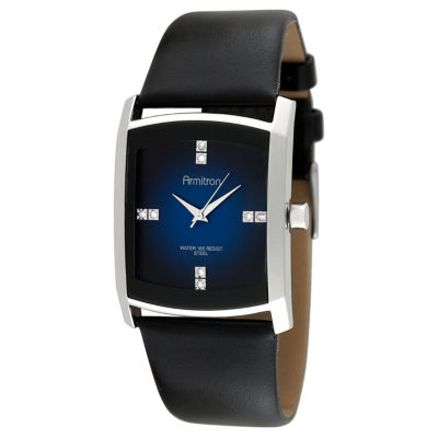 Armitron® Mens Black Leather Blue Degrade Watch