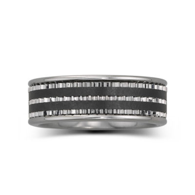 Men's 7.5mm Stainless Steel & Ceramic Band