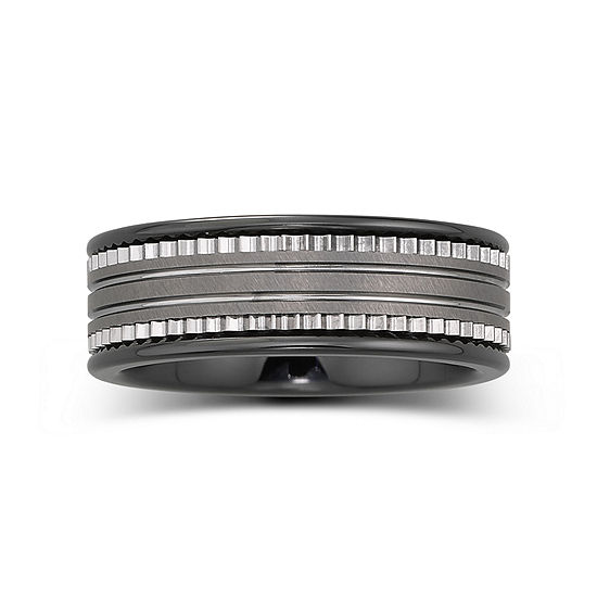 Mens 7.5mm Ceramic & Stainless Steel Band
