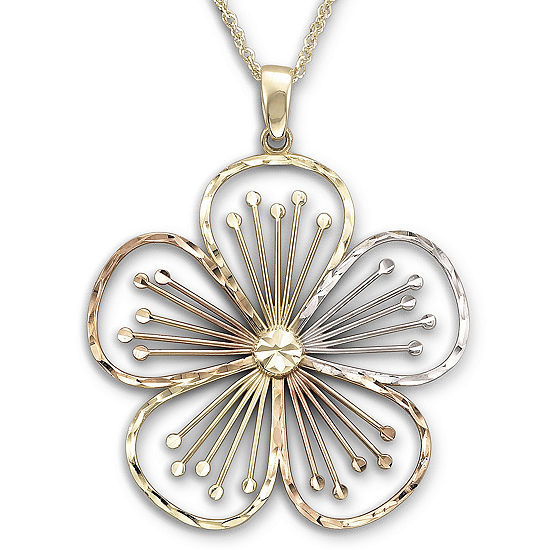 Tri-Color Flower Pendant Necklace 10K Gold