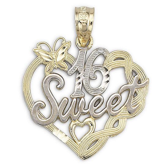 14K Two-Tone Gold Sweet 16 Pendant