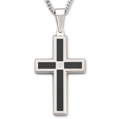 Mens Diamond-Accent Cross Pendant Necklace
