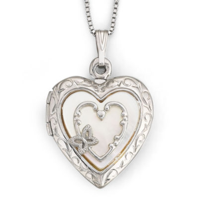 Mother-of-Pearl Heart Butterfly Locket