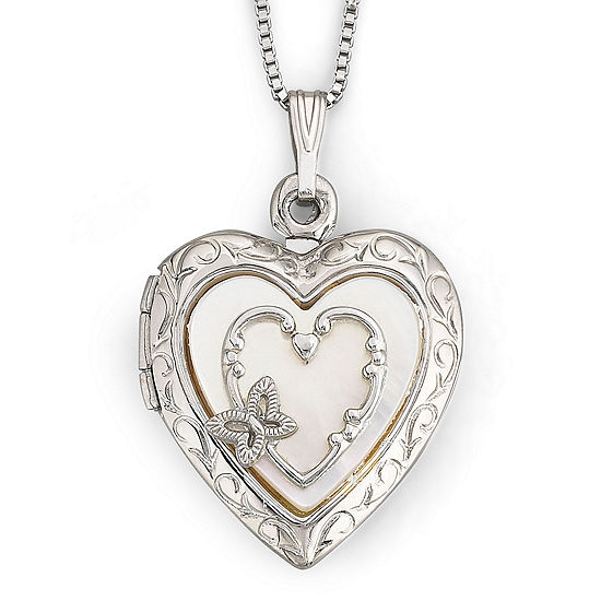 sterling silver locket products lockets heart butterfly enameled chain in