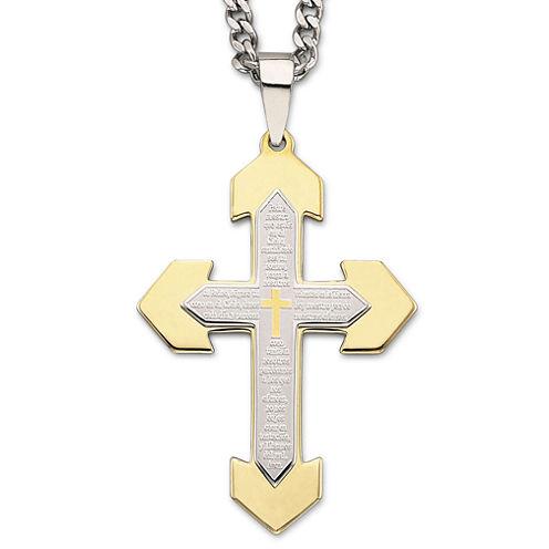 Spanish Lord's Prayer Cross Pendant Necklace